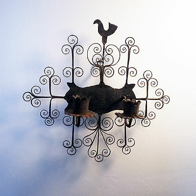 Antique Blacksmith Forged Wrought Iron Floral Bird Motif Candle Scoonce/ Spain