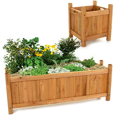 Set of 2 Wooden Garden Planters Flower Plant Pot Window Box Raised Bed Basket 2
