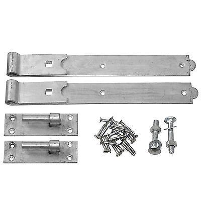 Hook & Band Gate Hinges 12 - 36 Inch - Black or Galvanised Heavy Duty Gate Hinge 2