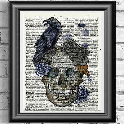 Home Decor Gothic ART PRINT ON ANTIQUE DICTIONARY BOOK PAGE Skull and Raven Art 2