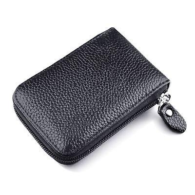 Mini Men Wallet Genuine Leather Credit Card Holder RFID Blocking Zipper Thin  AU 5