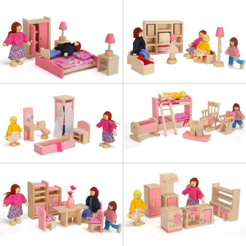 Kids Miniature Dollhouse Furniture Set Wooden House Family Pretend Play Toy Doll 3