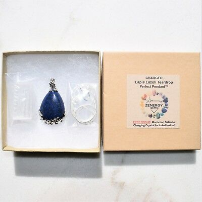 "Perfect Pendant™ - Lapis Lazuli Teardrop Pendant + 20"" Chain: ZENERGY GEMS™ 6"