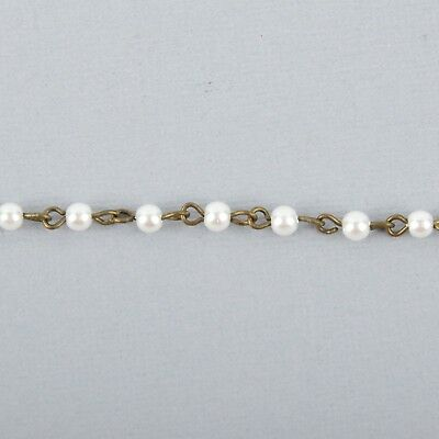 1 yard WHITE Pearl Rosary Chain, bronze, 4mm round glass pearl beads, fch0992a 3