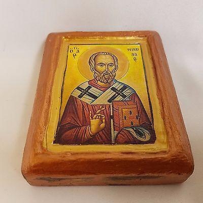 Saint Nicholas Nikolaos Agios Nikolas Rare Byzantine Greek Orthodox Icon Art 6