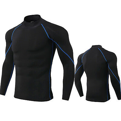 Mens Mock Long-Sleeved T-Shirt Cool Dry Compression Baselayer Slimming Wicking