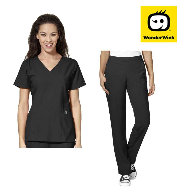 Womens Scrub Set - Premium Stretch Fabric Top and Pants Nurse Medical Uniform 2