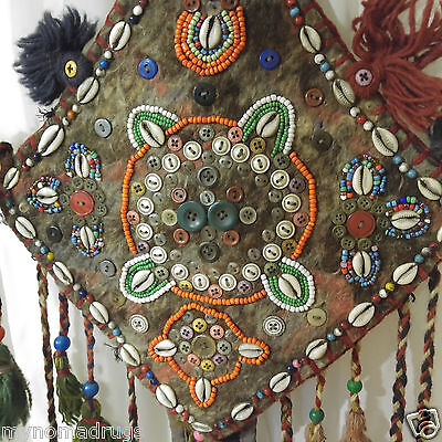 Three 1'1''x2'5''Antique 1900-1930s Tribal Decorative Ceremonial Wall Hanging 3
