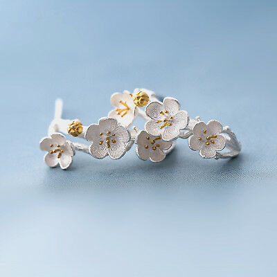 Solid 925 Sterling Silver Cherry Blossoms Flower Branch Line Stud Drop Earrings 6
