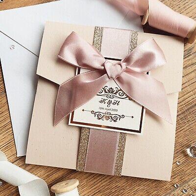 Rose Gold Nude Blush Pink Luxury Glitter Pocketfold Wedding Invitation *Sample* 5