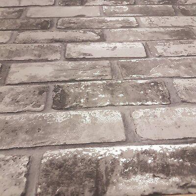Job Lot Quantity 4-6754 Brick Wallpaper Grey Silver Shimmer Flat Paper