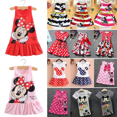 Kinder Mädchen Mickey Minnie Maus Kostüm Kleider Tunika Sommerkleid PartyKleid