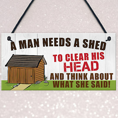 FUNNY Shed Sign Man Cave Garage Home Garden Husband Bar Pub Hanging Plaque Gift