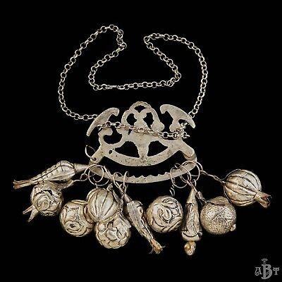 Antique Vintage Victorian Sterling Silver Ragastens Penca Balangandan Necklace 3