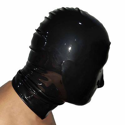 Brand New Black Latex Rubber Gummi Hood Mask (one size) 3