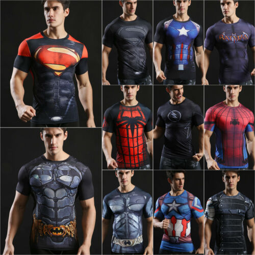 Marvel Super Hero Shirt Men Compression T-Shirts Sports Fitness Gym Workout  Tops 4 4 of 12 ... 55398b21a