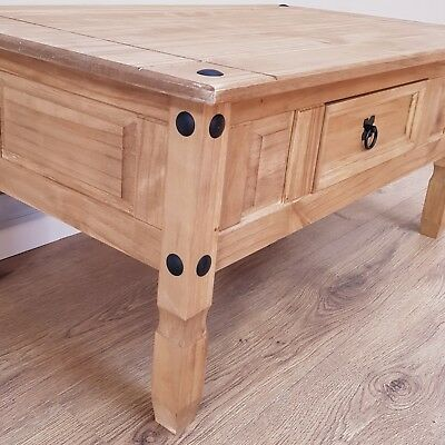 Corona Coffee Table Mexican Solid Pine 1 Drawer Livingroom by Mercers Furniture® 7