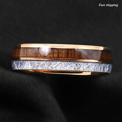 8/6mm Rose Gold Dome Tungsten Ring Silver Koa Wood Inlay Bridal ATOP Men Jewelry 4