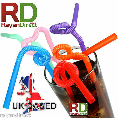 "100Pcs Super Extra Bendy Long Mega Drinking Straws 11"" Coloured Special Gift"