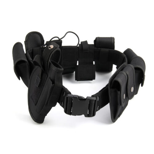 New Police Guard Tactical Belt Buckles With 9 Pouches Utility Security System UK