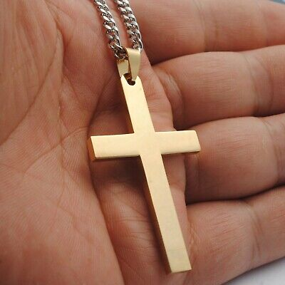 Stainless Steel Plain Silver Jesus Cross Crucifix Pendant Necklace Mens & Womens 11