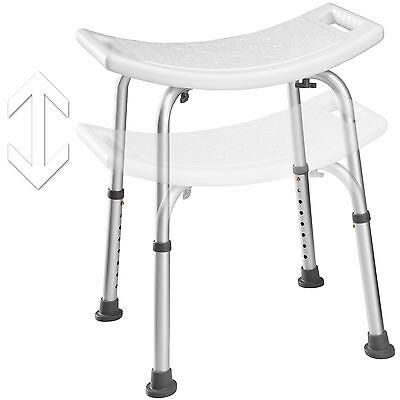 Taburete de Ducha Rectangular Aluminio Plástico Blanco para Baño Ducha Ajustable 2