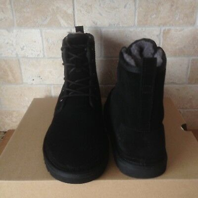 54379ba3e8e UGG HARKLEY BLACK Suede Sheepskin Chukka Boots Shoes Size US 7 Mens NIB