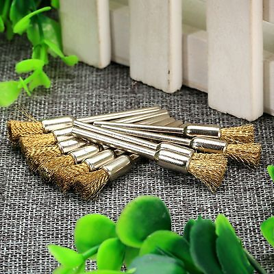 10pc Pen Shape Brass Wire Polishing Brush 3mm Shank For Grinder Dril Rotary Tool 4