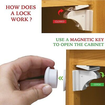 Magnetic Cabinet Locks For Child Baby Proof Safety Cupboard Door Drawer Kitchen 2