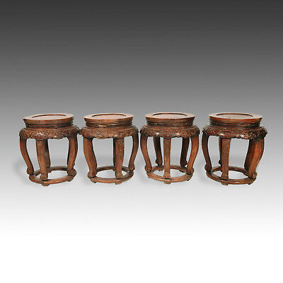 Very Rare Chinese Fine Pair Huanghuali Demilune Tables & Four Stools Hubei China 10