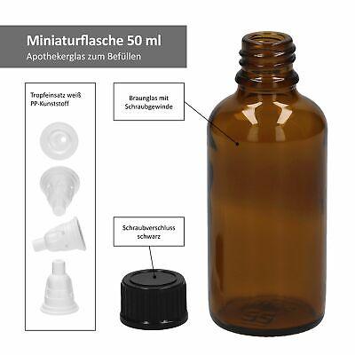 3tlg. Miniaturflaschenset Tropfflasche Braunglas 50ml Apothekerfläschen Tropfer 3