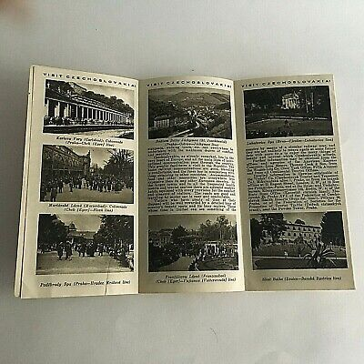 """Vintage 1960's Visitor's Guide Czechoslovakia Tourism 31.5"""" X 8"""" 8"""