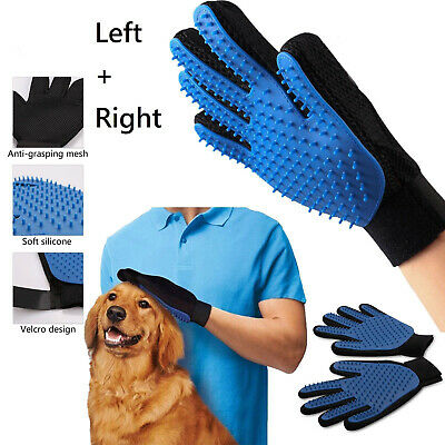 Pet Hair Remover Glove Brush Dog Cat Grooming Massage Soft Bath Shedding Glove 2