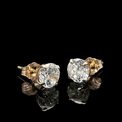 3Ct. Round Cut Created Diamond Earrings 14K Yellow Gold Studs Briliant Solitaire 2