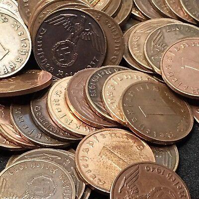 50 Coin Lot Rare WW2 German 1 RP Reichspfennig 3rd Reich Bronze Nazi Coins 3