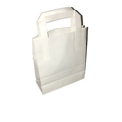 All Sizes White or Brown Kraft Paper SOS Takeaway Carrier Bags with Flat Handles 3