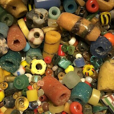 25 Mixed Ancient & Medieval Glass Bead Artifact Lot Roman Venetian African Old 4