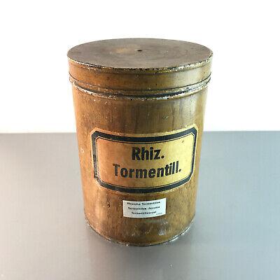 (m145) Blechdose Rhiz. Tormentill. 18 cm APOTHEKERDOSE Blech Metall Dose 3