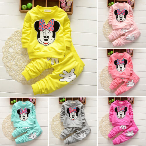 Enfants Bébé Filles Vêtements Minnie Mouse Pull Hauts + Pantalon Jogging Tenues 2