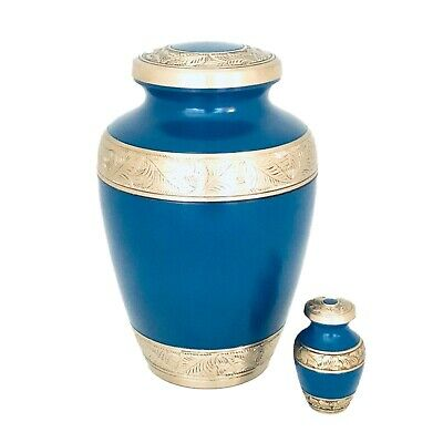 Well Lived® Blue and Brass Adult Cremation Urn for human ashes 4