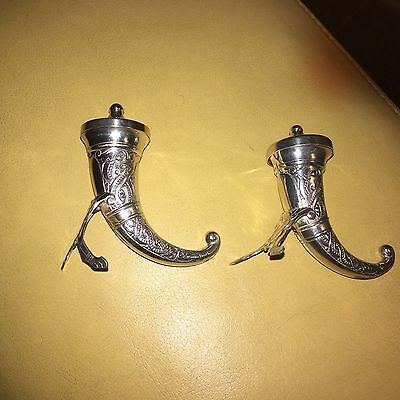 Norwegian Sterling Silver Viking Era Pepper Shaker Horns 6