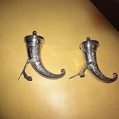 Norwegian Sterling Silver Viking Era Pepper Shaker Horns 6