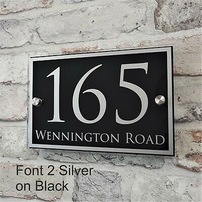 House Number Sign Address Plaque Property Name Plate Modern Glass Effect Acrylic