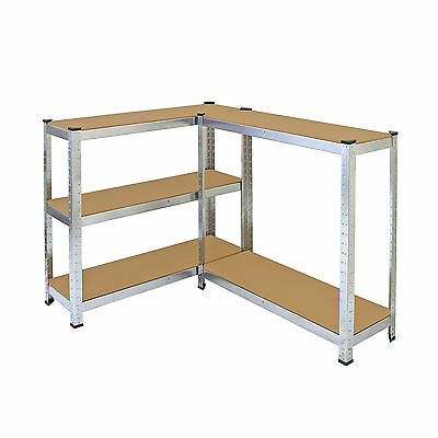 4 x Storage Shelving Garage Racking Heavy Duty 5 Tier Boltless Bays MDF Shelves 6