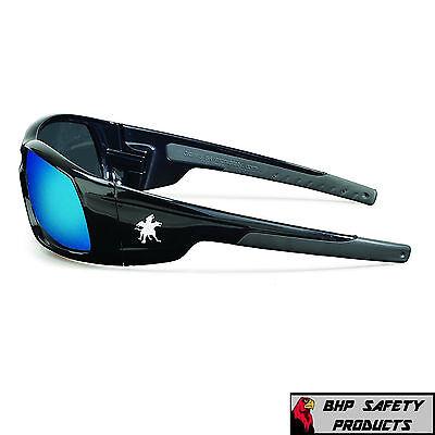 dd487d30613 ... Mcr Crews Swagger Safety Glasses Sr118B Black Frame blue Mirror Lens  Sunglasses 3