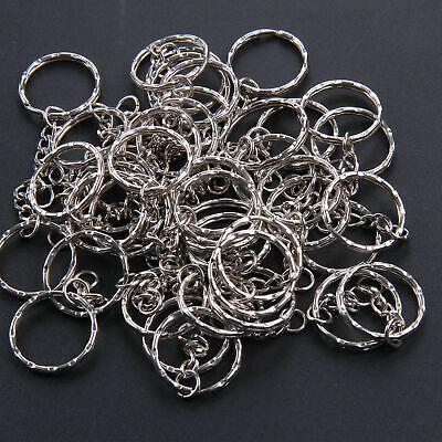 100Pcs Silver Keyring Blanks Tone Key Chains Key Split Rings With 4 Link Chain 5