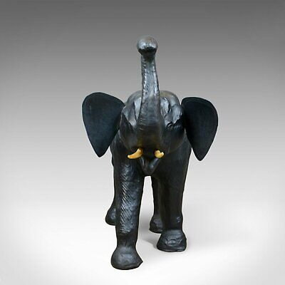 Large Vintage Leather Elephant Sculpture, 3 Foot Tall Model, Mid 20th Century 5