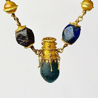 BEAUTIFUL Ancient Roman Gold Pendant Necklace With Green And Blue Glass Beads 3