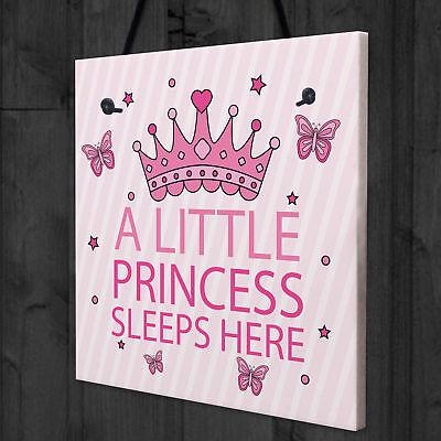 "Hanging Bedroom Plaque /""Little Prince//Little Princess Sleeps Here/"" personalised"