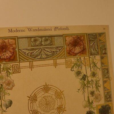 Moderne Wandmalerei Plafond  ,Chromolithografie 19. Jhdt. 2